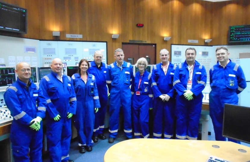 Trudy and Trades Union colleagues pictured in the simulator control room with Hinkley Point B Station Director Peter Evans