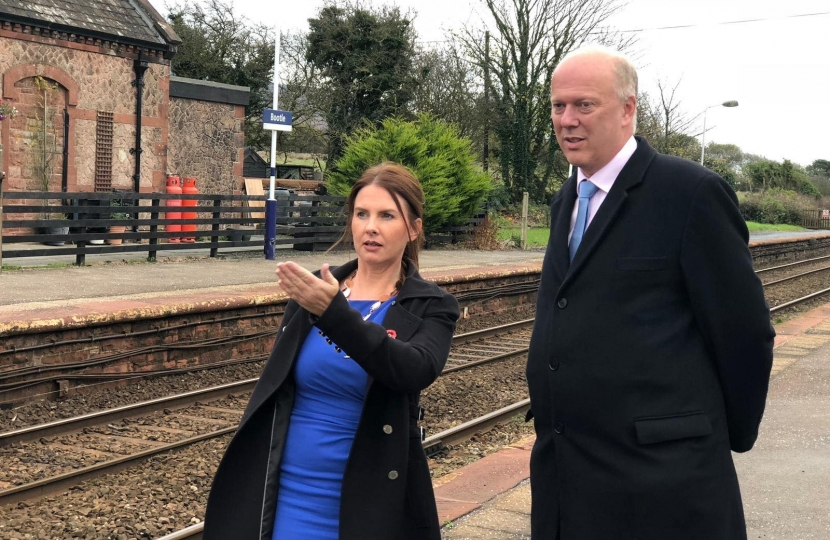 Copeland MP, Trudy Harrison with Transport Minister, Chris Grayling during visit to Copeland