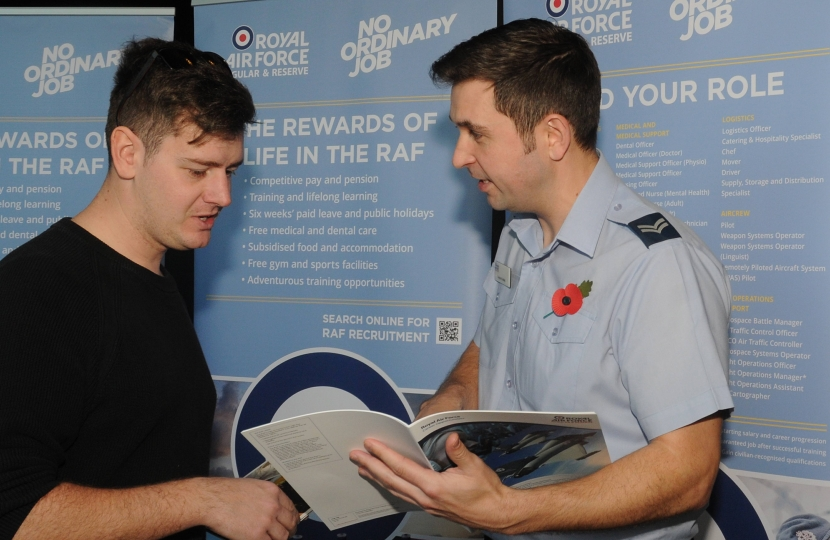 Royal Air Force speak with young people at Copeland Skills Fair 2017