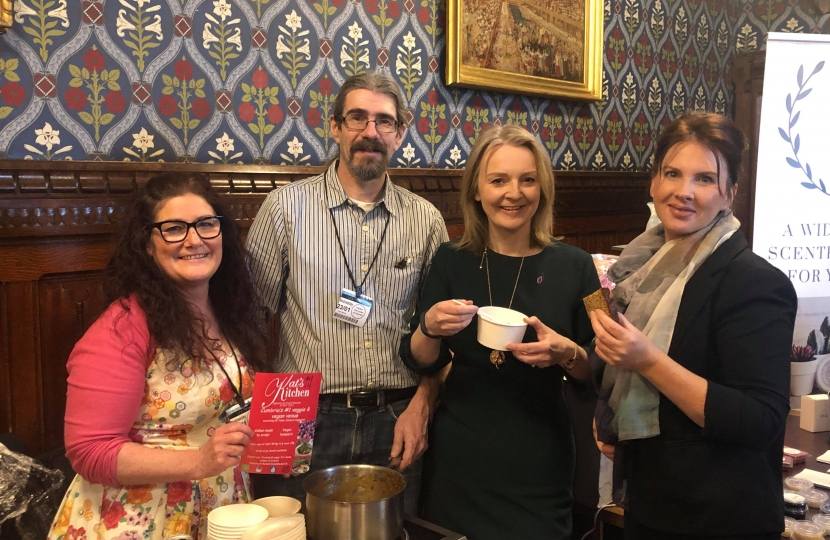 Trudy Harrison MP with Kat's Kitchen owners Kat and Nigel Hale and Chief Secretary to the Treasury, Liz Truss