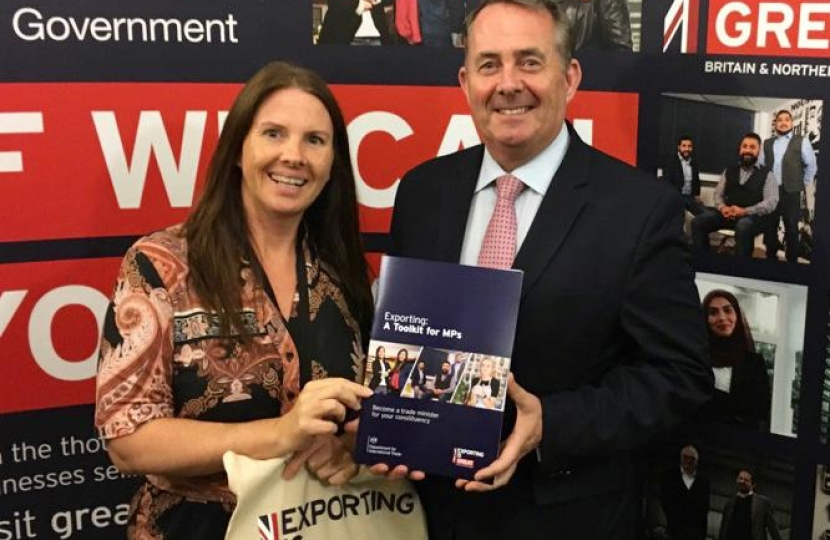 Trudy Harrison at the Government's Export Toolkit with Secretary of State for International Development (Liam Fox)