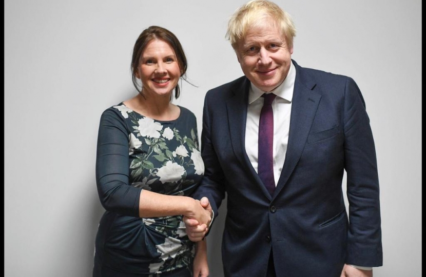 Trudy Harrison and Boris Johnson